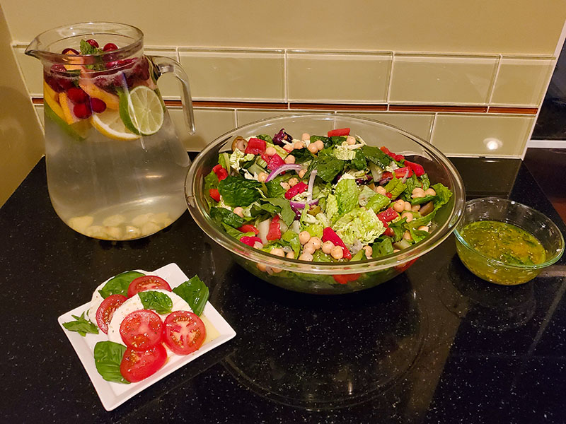 Finished Product - Cruncy Olive Salad, Caprese Salad and Water
