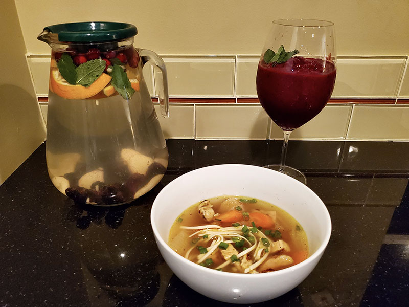 Turmeric Ginger Chicken Soup And Berry Beet Smoothie
